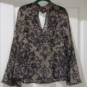 Lace Pattern Bell Sleeve Top